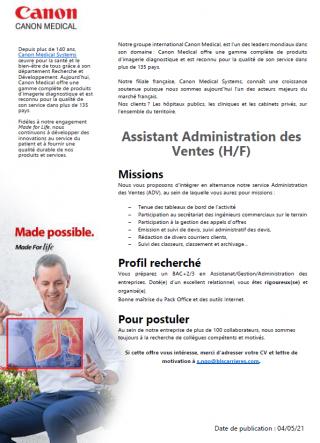 Recrutement alternance Canon Medical France